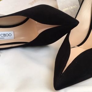 Jimmy Choo Black Suede Pumps / PVC